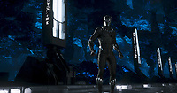 Black Panther (2018) <br /> Black Panther/T'Challa (Chadwick Boseman)<br /> *Filmstill - Editorial Use Only*<br /> CAP/RFS<br /> Image supplied by Capital Pictures