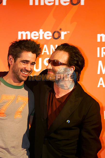 Colin Farrell with Bono, at Meteor Ireland Music Awards in Dublin...Pic Newsfile