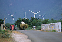INDIA Tamil Nadu Cape Comorin, wind farm, wind turbines / INDIEN Kap Komorin, Windkraftanlagen in einem Windpark