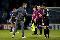 Bury Caretaker Manager, Ryan Lowe, shakes hands with Bury's Nicky Ajose at the final whistle during Gillingham vs Bury, Sky Bet EFL League 1 Football at the MEMS Priestfield Stadium on 11th November 2017