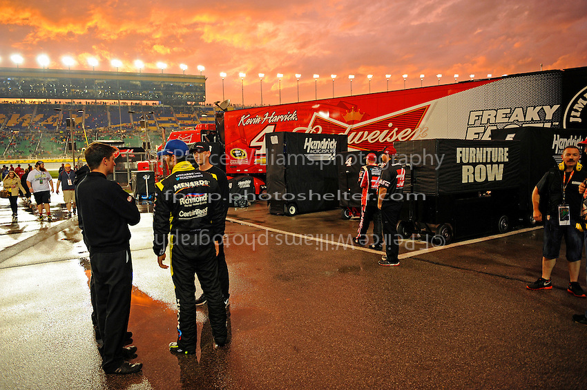 The sunsets during the rain delay.