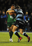 Connacht's Mils Muliaina is tackled by Cardiff Blues' Sam Hobbs<br /> Guiness Pro12<br /> Cardiff Blue v Connacht<br /> BT Sport Cardiff Arms Park<br /> 06.03.15<br /> &copy;Ian Cook -SPORTINGWALES