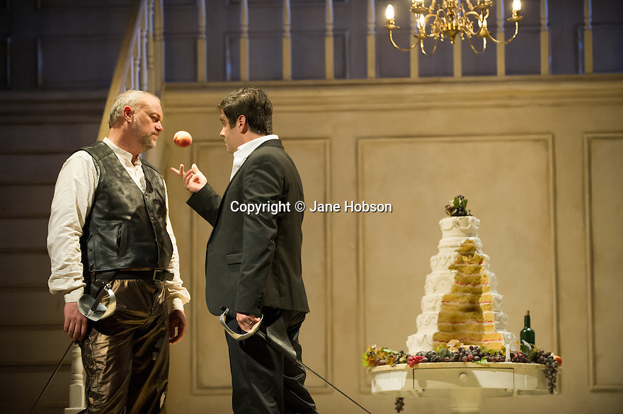 London, UK. 02.10.2013. English Touring Opera present JASON, by Francesco Cavalli, in the Britten Theatre, at the Royal College of Music. Picture shows: Andrew Slater (Hercules) and Clint van der Linde (Jason). Photograph © Jane Hobson.