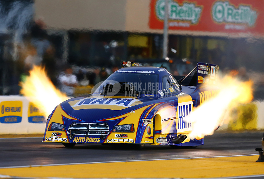 Jul. 26, 2013; Sonoma, CA, USA: NHRA funny car driver Ron Capps during qualifying for the Sonoma Nationals at Sonoma Raceway. Mandatory Credit: Mark J. Rebilas-
