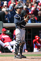 March 4, 2010:  Catcher Jorge Posada of the New York Yankees during a Spring Training game at Bright House Field in Clearwater, FL.  Photo By Mike Janes/Four Seam Images