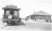 Rear photo of westbound &quot;Shavano&quot; at Gunnison depot.<br /> D&amp;RGW  Gunnison, CO  Taken by Treptow, Russell F. - 8/14/1940