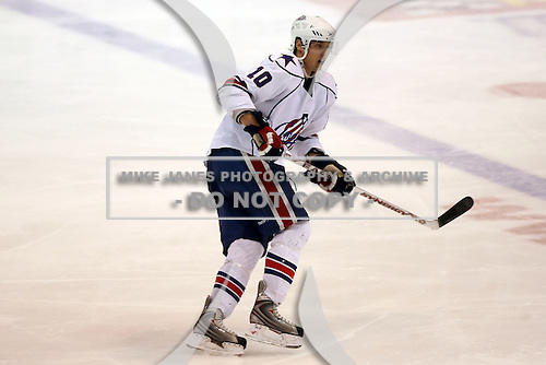 February 22nd 2008:  Stefan Meyer (10) of the Rochester Amerks skates up ice during a game vs. the Binghmaton Senators at Blue Cross Arena at the War Memorial in Rochester, NY.  The Senators defeated the Amerks 4-0.   Photo copyright Mike Janes Photography