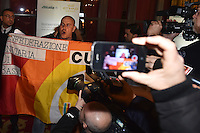 Protesta dei lavoratori Alitalia sulla riduzione del personale e sui licenziamenti. Alitalia workers protest against <br /> Roma 20-01-2015 St. Regis Hotel Presentazione nuova Alitalia a seguito del completamento degli investimenti azionari da parte di Etihad Airways. Unveiled the strategic plan for the new Alitalia following the completion of equity onvestments dy Etihad Airways and Alitalia's existing shareholders. <br /> Photo Andrea Staccioli/Insidefoto