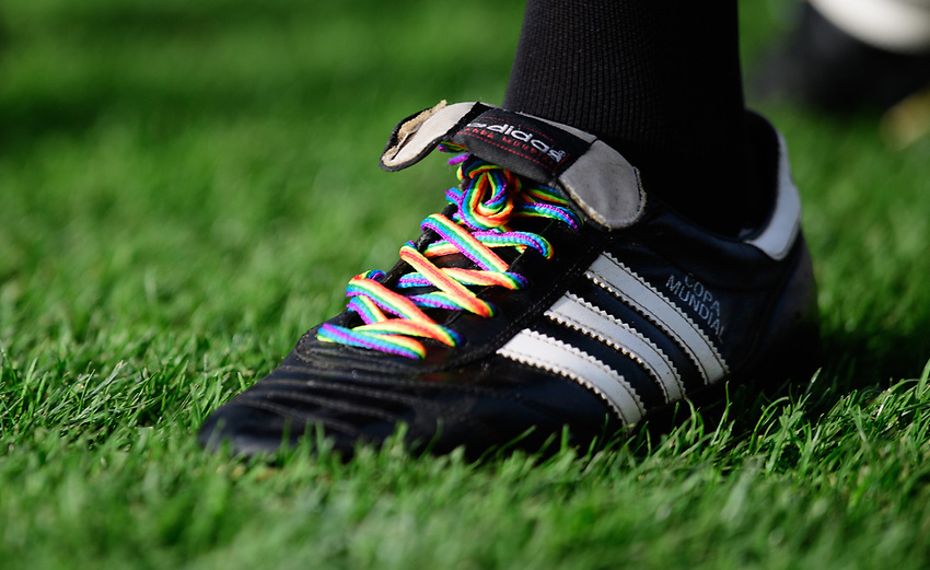 A close up of rainbow coloured laces on the boots of referee Gavin Ward<br /> <br /> Photographer Chris Vaughan/CameraSport<br /> <br /> The EFL Sky Bet League Two - Lincoln City v Mansfield Town - Saturday 24th November 2018 - Sincil Bank - Lincoln<br /> <br /> World Copyright © 2018 CameraSport. All rights reserved. 43 Linden Ave. Countesthorpe. Leicester. England. LE8 5PG - Tel: +44 (0) 116 277 4147 - admin@camerasport.com - www.camerasport.com