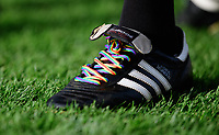 A close up of rainbow coloured laces on the boots of referee Gavin Ward<br /> <br /> Photographer Chris Vaughan/CameraSport<br /> <br /> The EFL Sky Bet League Two - Lincoln City v Mansfield Town - Saturday 24th November 2018 - Sincil Bank - Lincoln<br /> <br /> World Copyright &copy; 2018 CameraSport. All rights reserved. 43 Linden Ave. Countesthorpe. Leicester. England. LE8 5PG - Tel: +44 (0) 116 277 4147 - admin@camerasport.com - www.camerasport.com