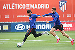 Atletico de Madrid's Diego Costa (l) and Saul Niguez during training session. May 26,2020.(ALTERPHOTOS/Atletico de Madrid/Pool)