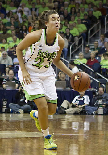 December 05, 2012:  Notre Dame guard Michaela Mabrey (23) dribbles the ball during NCAA Women's Basketball game action between the Notre Dame Fighting Irish and the Baylor Bears at Purcell Pavilion at the Joyce Center in South Bend, Indiana.  Baylor defeated Notre Dame 73-61.