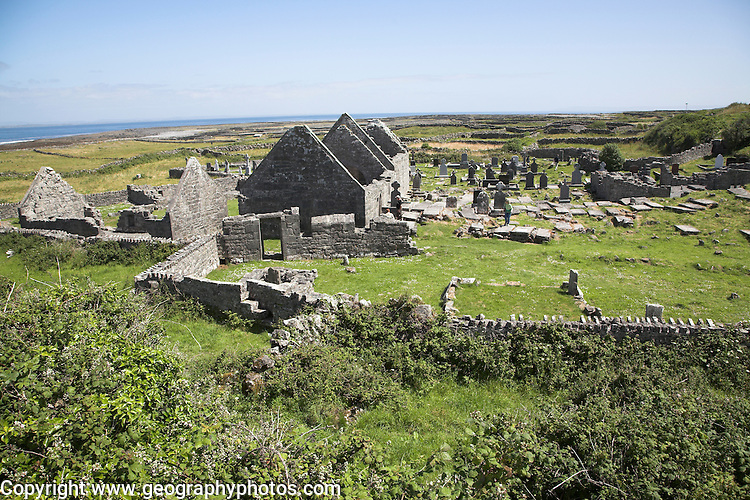 Ruined monastic church and graveyard, Inishmore, Aran Islands, Ireland