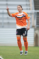 Ashley Braam (8) of the Charlotte Lady Eagles celebrates her goal during the game at the Maryland SoccerPlex in Boyds, Maryland.  The Charlotte Lady eagles defeated the Long Island Rough Riders, 4-0, to advance to the W-League Eastern Conference Championship.