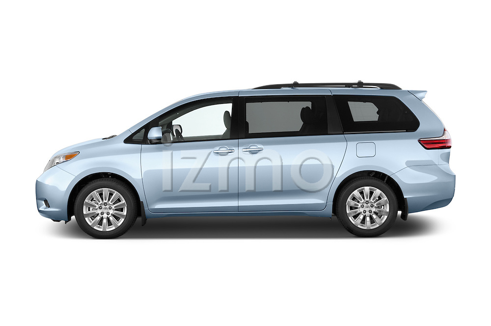 Car Driver side profile view of a2015 Toyota Sienna XLE V6 8-Passenger 5 Door Mini Van Side View