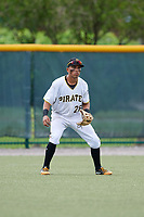 GCL Pirates left fielder John Lantigua (26) running the bases during the first game of a doubleheader against the GCL Yankees East on July 31, 2018 at Pirate City Complex in Bradenton, Florida.  GCL Yankees East defeated GCL Pirates 2-0.  (Mike Janes/Four Seam Images)