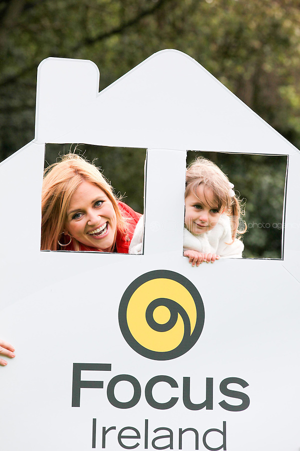 NO REPRO FEE. 18/10/2011. Focus Ireland Ambassadors - TV3's Karen Koster and 4 year old Ava O'Donnell teamed up with Focus Ireland to make an urgent appeal for people to volunteer to take part in the charity's annual 'Key to a Home Collections' on November 18th - 21st.Volunteers are needed nationwide to sell key rings and shake buckets to raise vital funds to help Focus Ireland's work each year supporting over 6,500 people who are homeless or at risk of losing their home. You can get involved by calling 01 881 59 00, emailingevents@focusireland.ieor by visitingwww.facebook.com/focusirelandcharity. Picture James Horan/Collins