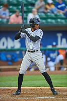 Julio Carreras (2) of the Grand Junction Rockies bats against the Ogden Raptors at Lindquist Field on June 17, 2019 in Ogden, Utah. The Rockies defeated the Raptors 9-0. (Stephen Smith/Four Seam Images)
