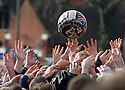 17/02/15  <br /> <br /> Players reach for the ball at the annual Royal Shrovetide Football  Match in Ashbourne, Derbyshire. After 'turning up' the ball at 2pm thousands of rival Up'Ards' and Down'Ards' team members attempt to 'goal' the ball onto stones set three miles apart in the town of Ashbourne, Derbyshire. The game also known as &quot;hugball&quot; has been played from at least c.1667 although the exact origins of the game are unknown but one of the most popular origin theories suggests the macabre notion that the 'ball' was originally a severed head tossed into the waiting crowd following an execution.<br /> <br /> <br /> All Rights Reserved - F Stop Press.  www.fstoppress.com. Tel: +44 (0)1335 418629 +44(0)7765 242650