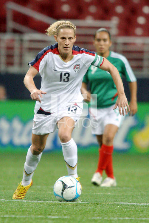USA (13) Kristine Lilly. The United States Women's National Team defeated Mexico 5-1 in an international friendly at the Edward Jones Dome in St Louis, MO on October 13, 2007.