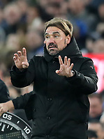 23rd  November 2019; Goodison Park , Liverpool, Merseyside, England; English Premier League Football, Everton versus Norwich City; Norwich City manager Daniel Farke issues instructions to his players from the technical area - Strictly Editorial Use Only. No use with unauthorized audio, video, data, fixture lists, club/league logos or 'live' services. Online in-match use limited to 120 images, no video emulation. No use in betting, games or single club/league/player publications