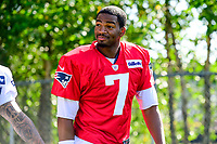 July 28, 2017: New England Patriots quarterback Jacoby Brissett (7) walks to the practice fields for the New England Patriots training camp held at Gillette Stadium, in Foxborough, Massachusetts. Eric Canha/CSM