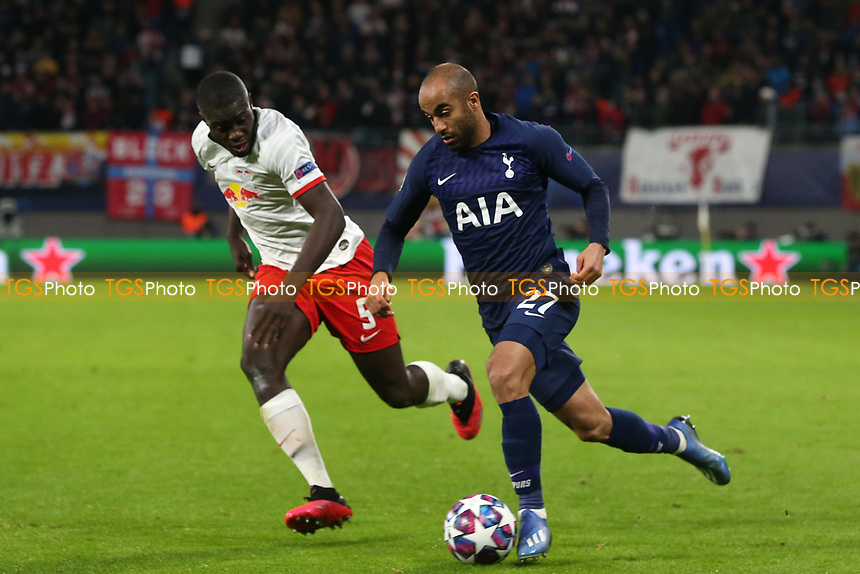 Dayot Upamecano of RB Leipzig and Lucas of Tottenham Hotspur during RB Leipzig vs Tottenham Hotspur, UEFA Champions League Football at the Red Bull Arena on 10th March 2020