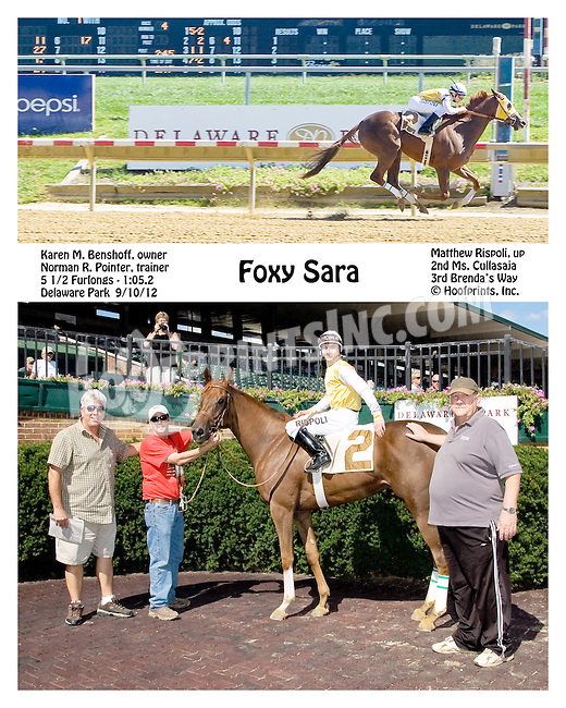 Foxy Sara winning at Delaware Park on 9/10/12