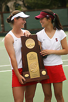 23 May 2006: Alice Barnes and Amber Liu hold the trophy after Stanford's 4-1 win over the Miami Hurricanes in the 2006 NCAA Division 1 Women's Tennis Team Championships at the Taube Family Tennis Stadium in Stanford, CA.