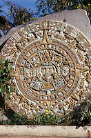 Replica of the Aztec calendar at the Regional Museum of Anthropology and History in the city of La Paz, Baja California Sur, Mexico