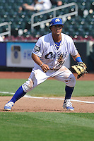 Cheslor Cuthbert #24 takes his defensive stance at first base against the Las Vegas 51s at Werner Park on August 17, 2014 in Omaha, Nebraska. The Storm Chasers  won 4-0.   (Dennis Hubbard/Four Seam Images)