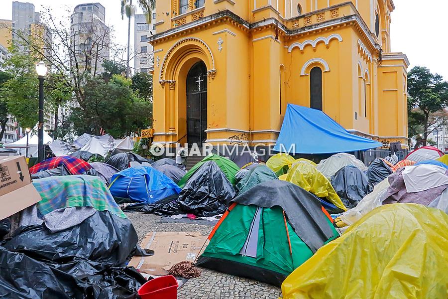 Acampamento de vitimas de predio que desabou, Largo Paissandu, Sao Paulo. 2018. Foto de Juca Martins.
