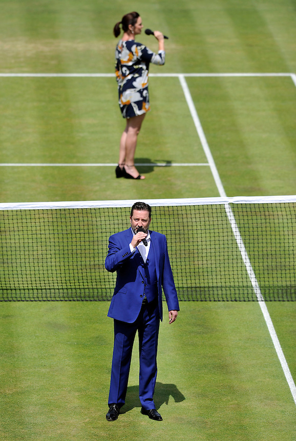 Pre match entertainment at Queens for the Davis Cup<br /> <br /> Photographer Ashley Western/CameraSport<br /> <br /> International Tennis - 2015 Davis Cup by BNP PARIBAS - World Group Quarterfinals - Great Britain v France - Day 2 - Saturday 18th July 2015 - Queens Club - London<br /> <br /> &copy; CameraSport - 43 Linden Ave. Countesthorpe. Leicester. England. LE8 5PG - Tel: +44 (0) 116 277 4147 - admin@camerasport.com - www.camerasport.com.