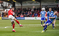 Fleetwood Town's Wes Burns shoots over under pressure from Blackpool's James Husband<br /> <br /> Photographer Lee Parker/CameraSport<br /> <br /> The EFL Sky Bet League One - Fleetwood Town v Blackpool - Saturday 7th March 2020 - Highbury Stadium - Fleetwood<br /> <br /> World Copyright © 2020 CameraSport. All rights reserved. 43 Linden Ave. Countesthorpe. Leicester. England. LE8 5PG - Tel: +44 (0) 116 277 4147 - admin@camerasport.com - www.camerasport.com