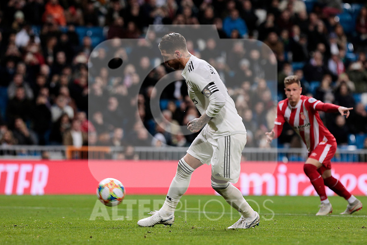 Real Madrid's Sergio Ramos scores goal shooting a penalty during Copa del Rey match between Real Madrid and Girona FC at Santiago Bernabeu Stadium in Madrid, Spain. January 24, 2019. (ALTERPHOTOS/A. Perez Meca)