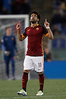 Calcio, Serie A: Roma vs Bologna. Roma, stadio Olimpico, 11 aprile 2016.<br /> Roma&rsquo;s Mohamed Salah celebrates after scoring during the Italian Serie A football match between Roma and Bologna at Rome's Olympic stadium, 11 April 2016.<br /> UPDATE IMAGES PRESS/Isabella Bonotto
