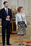 Prince Felipe and Queen Sofia receive International Olympic Committee Evaluation Commission Team for a dinner at the Royal Palace.March 20,2013. (ALTERPHOTOS/Pool)