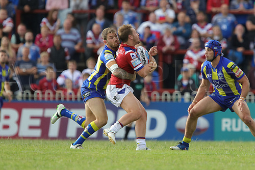 July 1st 2017, Beaumont Legal Stadium, Wakefield, England; The Betfred Super Leauge; Wakefield Trinity versus Warrington Wolves; Kyle Wood of Wakefield Trinity trys to break the line but is held up