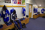 Macclesfield Town 0 Gateshead 4, 22/02/2013. Moss Rose, Football Conference. Midfielder Micah Evans sitting in the home dressing room before Macclesfield Town host Gateshead at Moss Rose in a Conference National fixture. The visitors from the North East who were in the relegation zone, shocked Macclesfield with four first half goals and won 4-0 in front of 1467 fans. Both teams were former members of the Football league, with Macclesfield dropping out in 2012. Photo by Colin McPherson.