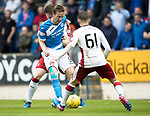 St Johnstone v Rangers&Ouml;21.05.17     SPFL    McDiarmid Park<br /> Steven MacLean is closed out by Myles Beerman and David Bates<br /> Picture by Graeme Hart.<br /> Copyright Perthshire Picture Agency<br /> Tel: 01738 623350  Mobile: 07990 594431