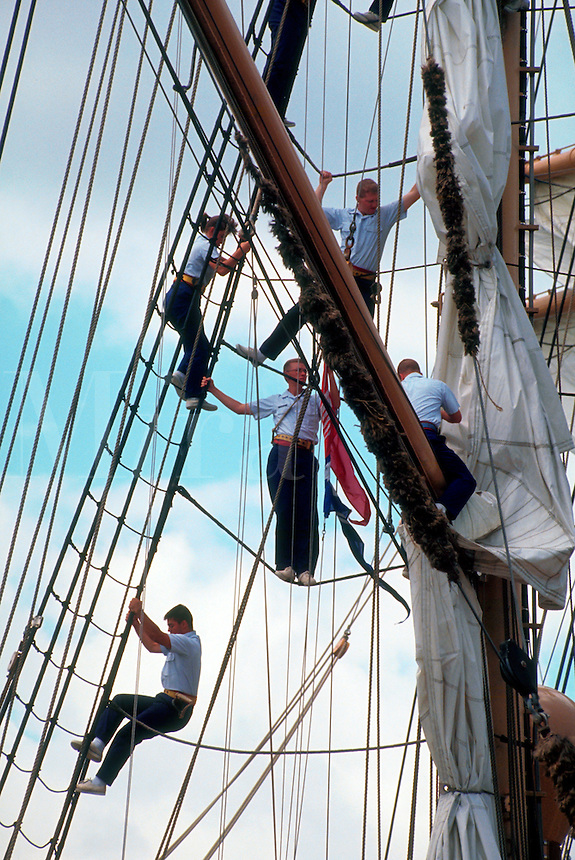 Cadets in rigging of the US Coast Guard training ship the Eagle.