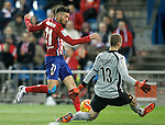 Atletico de Madrid's Yannick Ferreira Carrasco (l) and Espanyol's Pau Lopez during La Liga match. November 28,2015. (ALTERPHOTOS/Acero)