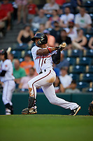 Richmond Flying Squirrels Jalen Miller (1) at bat during an Eastern League game against the Binghamton Rumble Ponies on May 29, 2019 at The Diamond in Richmond, Virginia.  Binghamton defeated Richmond 9-5 in ten innings.  (Mike Janes/Four Seam Images)