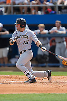 Logan Harvey (15) of the Wake Forest Demon Deacons follows through on his swing against the Florida Gators in Game One of the Gainesville Super Regional of the 2017 College World Series at Alfred McKethan Stadium at Perry Field on June 10, 2017 in Gainesville, Florida.  (Brian Westerholt/Four Seam Images)