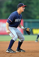 Infielder Chris Curley (25) of the Rome Braves in a game against the Greenville Drive on Aug. 10, 2010, at Fluor Field at the West End in Greenville, S.C. Photo by: Tom Priddy/Four Seam Images.