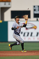 Bradenton Marauders shortstop Adrian Valerio (14) settles under a pop up during the first game of a doubleheader against the Lakeland Flying Tigers on April 11, 2018 at Publix Field at Joker Marchant Stadium in Lakeland, Florida.  Lakeland defeated Bradenton 5-4.  (Mike Janes/Four Seam Images)