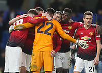 Manchester United's Sergio Romero, Luke Shaw, Paul Pogba and Ander Herrera celebrate at the end of the game<br /> <br /> Photographer Rob Newell/CameraSport<br /> <br /> Emirates FA Cup Fifth Round - Chelsea v Manchester United - Monday 18th February - Stamford Bridge - London<br />  <br /> World Copyright © 2019 CameraSport. All rights reserved. 43 Linden Ave. Countesthorpe. Leicester. England. LE8 5PG - Tel: +44 (0) 116 277 4147 - admin@camerasport.com - www.camerasport.com