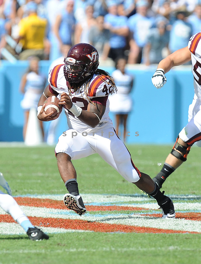 Virginia Tech Hokies Marshawn Williams (42) during a game against the North Carolina Tar Heels on October 4, 2014 at Kenan Stadium in Chapel Hill, NC. Virginia Tech beat North Carolina 34-17.