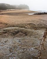 """I (heart) Mom"", scratched into the sandstone at the fog-shrouded Pomponio State Beach on the California coast."