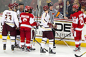 Patrick Brown (BC - 23), Brooks Dyroff (BC - 14), Chris Millea, Alexx Privitera (BU - 6), Michael Matheson (BC - 5), Jack Millea, Sean Escobedo (BU - 21) - The Boston College Eagles defeated the visiting Boston University Terriers 5-2 on Saturday, December 1, 2012, at Kelley Rink in Conte Forum in Chestnut Hill, Massachusetts.